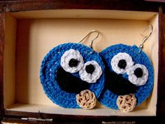 crochet cookie monster earrings