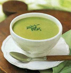 Asparagus Soup........Absolutely delicious!!!  And, very easy!,  I've also used the basic recipe and substituted celery for the asparagus.  At other times, Broccoli was the veggie, and even tried potato, corn and a little bacon on one occasion!
