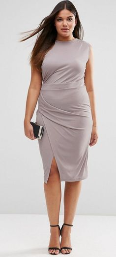 Plus Size Midi Dress With Drape Side