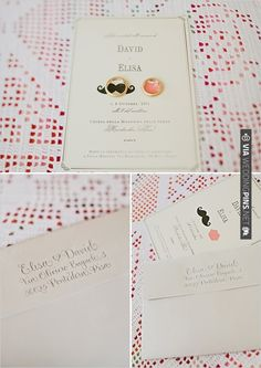 mustache and lips invite for an Italian wedding! | CHECK OUT MORE IDEAS AT WEDDINGPINS.NET | #weddingfashion