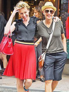 Ellen DeGeneres, in oversized teardrop aviator shades, was all smiles as she walked alongside her gorg wife in the Big Apple!