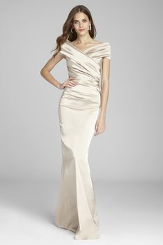 Gold, Taupe, and Neutral Mother of the Bride Dresses - off the shoulder champagne gown with portrait collar for mother of the bride or groom by Teri Jon Source by lisaheutmaker - Mother Of The Bride Dresses Long, Mother Of Bride Outfits, Mob Dresses, Fashion Dresses, Wedding Attire, Wedding Dresses, Satin Gown, Blush Gown, Satin