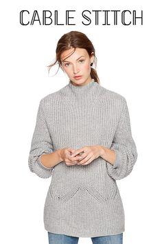 72e7b425e2 Amazon.com  Cable Stitch Women s Mock Neck Pullover Sweater  Clothing