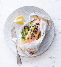 A simple salmon dish, parcelled up to seal in the flavours. With creamy mascarpone and fresh leeks, this fish supper is easy and rich in Salmon Recipes, Fish Recipes, Seafood Recipes, Recipies, Salmon Dishes, Fish Dishes, Bbc Good Food Recipes, Cooking Recipes, Cooking Fish