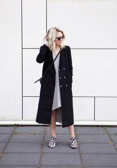 sweater dress + trench coat