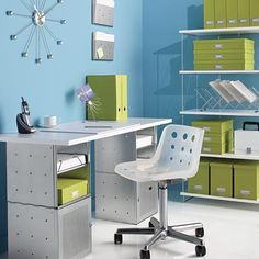 Sleek and sophisticated, our Galvanized Cube Desk is a great-looking solution for your home office. Cubes offer ample storage space for office supplies while the desktop is ideal for a laptop or PC as well as accessories.