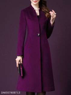 Single Button Plain Long Sleeve Coats - Trendy Shoes For Women Coats For Women, Jackets For Women, Clothes For Women, Cheap Clothes, Hijab Fashion, Fashion Dresses, Fashion Coat, Mode Hijab, Coat Dress