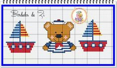 Urso marinheiro Cross Stitch Baby, Cross Stitch Patterns, Baby Teddy Bear, Teddy Bears, Nautical Home, Baby Sweaters, Crochet Baby, Kids Rugs, Embroidery