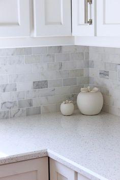 Quartz kitchen countertops Tiffany Leigh Interior Design: Project Northlake: Kitchen Reno - After Pi White Kitchen Backsplash, Outdoor Kitchen Countertops, New Kitchen Cabinets, Kitchen Redo, Home Decor Kitchen, Kitchen Tiles, Kitchen Interior, Kitchen Remodel, Marble Tile Backsplash