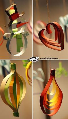 nine Ideas for Christmas Toys from Colored Ribbons. We can use construction paper! (Christmas Kids Can Make) Paper Christmas Ornaments, Noel Christmas, Christmas Toys, Christmas Crafts For Kids, Homemade Christmas, Christmas Projects, Holiday Crafts, Navidad Diy, Diy Weihnachten