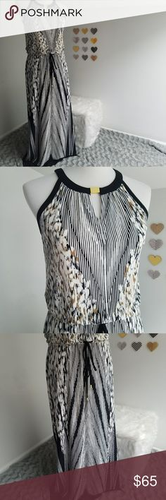 Calvin Klein Sleeveless Dress drawstring waist XS Like new dress by Calvin klein. Has a drawstring waist and very unique fabric pattern.keyhole cutout in the front and in the back. Size extra small Calvin Klein Dresses