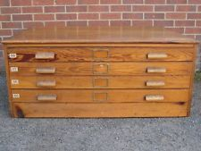 Antique George V military solid pine 4 drawer coffee table map plan filing chest