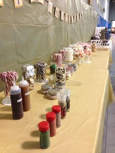 Hot chocolate bar.... Would be so much fun for hanging greens service