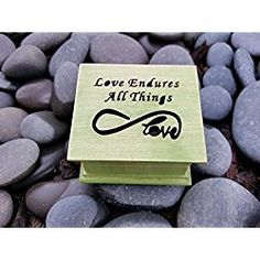 Custom made music box with love endures all things and infinity love sign engraved on the top, great weed simplycoolgifts