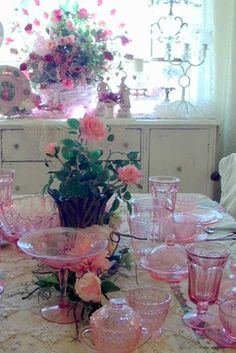 Beautiful vintage depression glass table setting