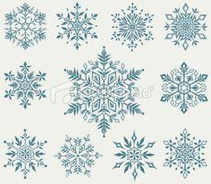 vector set of decorative snowflakes Snowflake Designs, Snowflake Pattern, Snowflake Template, Christmas Snowflakes, Christmas Art, Vector Christmas, Fuchs Tattoo, Snow Flake Tattoo, Snowflake Background