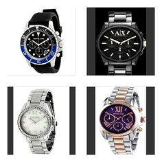 Michael Kors Everest Chronograph Black/Blue Bezel Dial Black Rubber Band Men's Watch Armani Exchange Outerbanks Black Ion-Plated Steel Chronograph Men's Watch   ­­­­­ Coach Tristen Crystal Mother of Pearl Two/Tone Stainless Steel Bracelet Women's Watch-So Elegant! Michael Kors Chronograph Mini Bradshaw Purple Dial Two/Tone Stainless Steel  Bracelet Women's Watch-So Perfect for Mom!