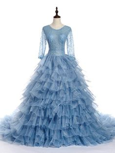 Princess Scoop Neck Organza Lace with Sequins Chapel Train Long Sleeve Modest Prom Dresses #UKM020102803
