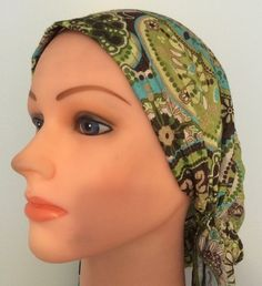 Pre tied tichel green and brown, $13.50