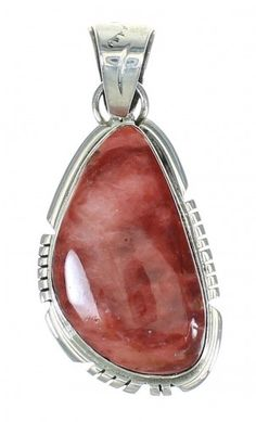 Red Oyster Shell Navajo Native American Sterling Silver Pendant AX71744-0
