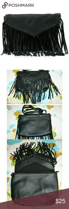 """Fringe Faux Suede Black Crossbody Bag NWT This fringe trimmed crossbody bag is gorgeous and fashionable! It has plenty of room for your cell phone, wallet, and makeup - with space left for other necessities! It features a interior cell phone pocket and small side zipper pocket. The materials are soft, high quality synthetic faux suede, fabric lining, and modern black hardware. It has a removable and adjustable shoulder strap that drops 24"""". The dimensions are 10.4""""x7""""x1"""". This one is black…"""