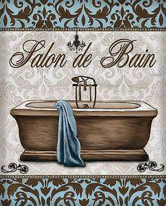 Posterazzi Modern Tub Canvas Art - Todd Williams x Parisian Bathroom, Modern White Bathroom, Small Bathroom, Bathrooms, Vintage Tub, Vintage Walls, Walk In Shower Designs, Bathroom Prints, Bathroom Pictures