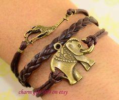 Elephants bracelet giraffes bracelet by Charmgift009 on Etsy, $1.99