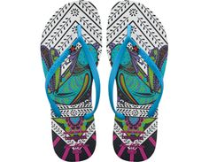 <p>The spontaneous spirit of Havaianas and swimwear designer Mara Hoffman's love of cosmic mysticism and mythology come together in this four-part collection. Boasting eclectic colors and mesmerizing prints that burst into life, each of our four limited-edition styles is finished with a specially designed pin on the strap.</p><ul>  <li>Thong style</li>  <li>Cushioned footbed with textured rice pattern and rubber flip flop sole</li>  <li>Made in Brazil</li></ul>