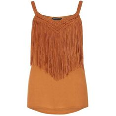 Dorothy Perkins Orange Fringed Macrame Cami Top ($39) ❤ liked on Polyvore featuring tops, orange, strappy tank, brown tank top, strappy tank top, brown cami and crochet top