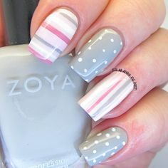 Black And White Zebra Nail Designs. You don't have to be a qualified manicurist to create amazing nail designs. With a little practice, the right tools and the step-by-step guides, you'll be producing your very own nail art quickly. Polka Dot Nails, Striped Nails, Polka Dots, Pink Stripes, Nails With Stripes, Easter Nail Designs, Nail Art Designs, Nails Design, Striped Nail Designs