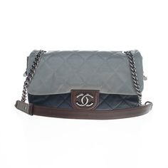 Chanel Navy Grey Brown Leather Handbag Shoulder Bag