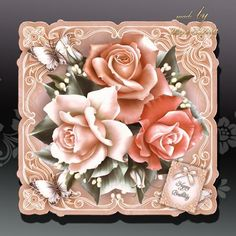 Vintage Colour Roses Card Kit on Craftsuprint designed by Atlic Snezana - Vintage Colour Roses Card Kit: 4 sheets for print with decoupage for 3D effect plus few sentiment tags (for your own personal text).  - Now available for download!
