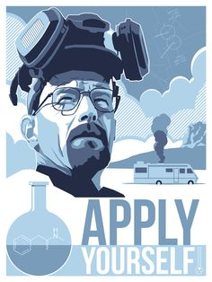 Poster based on Walter White from Breaking Bad. Now sold out at Dark City Gallery; thanks to everyone who bought one!…