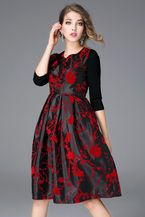 $82.99 Black Floral Print Round Neck Midi Dressproducts_id:(1000012964 or 1000012522 or 1000012713 or 1000012456)