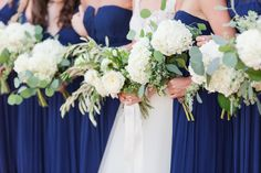 Floor Length Navy Bridesmaid Dress with Natural Bouquets of Green and Ivory