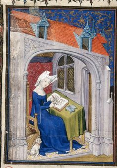 Christine de Pizan writing in her study, from the Book of the Queen, France (Paris), c. 1410-1414, Harley MS 4431, f. 4r