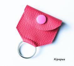 porte-jeton femme en simili cuir fuchsia avec anneau porte-clé : Etuis, mini sacs par kipapee