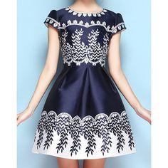 Vintage Jewel Neck Print Short Sleeves Dress For Women