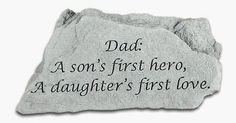Kay Berry- Inc. 47020 Dad - A Sons First Hero - Memorial - 5.5 Inches x 3.25 Inches by Kay Berry, Inc.. $14.07. Manufactured to the Highest Quality Available.. Great Gift Idea.. Design is stylish and innovative. Satisfaction Ensured.. Kay Berry products are made of cast stone in Saxonburg PA. They are made to be weatherproof. All of the decorative stones have a hangar cast into the backs to allow display on walls fences or outbuildings. Dimensions 5.5in x 3.25in.. Save 64% Off!