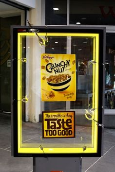 In the spirit of the Kellogg's Crunchy Nut Corn Flakes campaign, comes a new outdoor execution created by JWT Sydney. The 15 sites around Australia create the impression that lovers of the tasty flakes have used spoons to try to force their way in to the box inside.