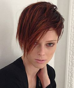 Coco Rocha with Tilda Swinton inspired haircut - long fringe front style