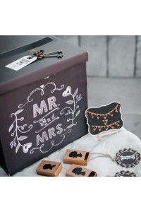 """Love Box """"Mr & Mme""""-Tirelire-Cagnotte-Urne des Mariées Noir - Décoration Mariage Baptême"""