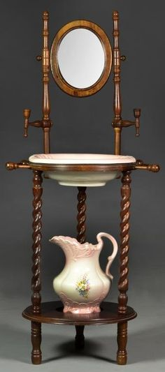 A Victorian Style Wash Basin, Pitcher & Stand