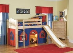 Luxury Cheerful Kids Loft Bed Design With Navy Blue Tent And Slide Kids Loft Bunk Beds - Elites Home Decor Cool Loft Beds, Modern Bunk Beds, Modern Loft, Modern Bedroom, Modern Contemporary, Bunk Bed With Slide, Bunk Beds With Stairs, Bed Slide, Bunk Beds Boys