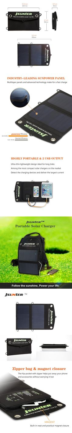 JSLINTER 10W 5V Solar Cell Sunpower Flexible Solar Panel Battery Dual USB Output for cellphone pad and more