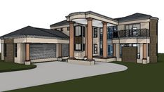 This awesome modern home design features three car garages and a grand entry porch. Browse our collection of 5 bedroom house plans in South Africa and save. Modern House Floor Plans, House Plan With Loft, My House Plans, Garage House Plans, Contemporary House Plans, Modern House Design, 6 Bedroom House Plans, 4 Bedroom House Designs, Double Storey House Plans