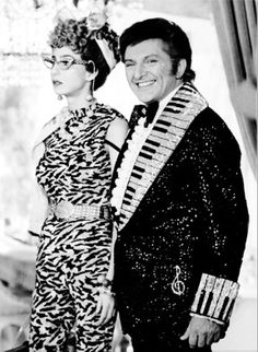 Liberace and Cher as 'LaVern' on the 'The Sonny and Cher Show' 1974