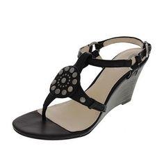Coach-NEW-Harper-Black-Leather-Embellished-Wedges-Shoes-7-5-Medium-B-M-BHFO