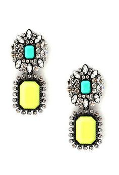 Neon Drop Earrings - wow, I love these! They pack such a bright punch to any dull outfit!