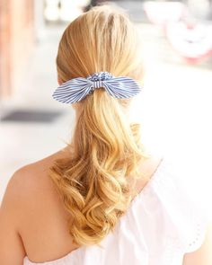 @prepavenue / www.prepavenue.com  bow, blue, white, curls, hair, off the shoulder, eyelet, outfit, idea, white, preppy, prep, classy, southern, summer, spring, curls, blogger, blog, shirt, south, for teens, for school, for work, college, casual, hair bow